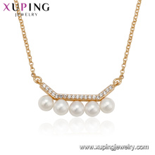 44128 Hot sales women jewelry gold plated micro pave design pearl chain necklace